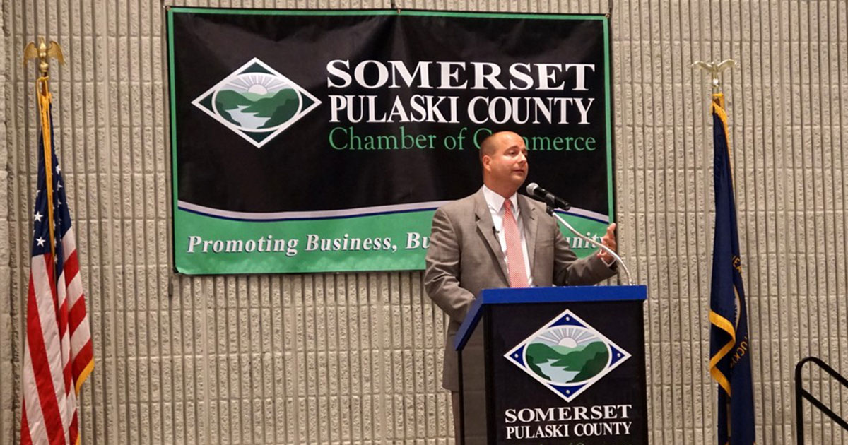 SPEDA president speaks to Chamber crowd at monthly luncheon