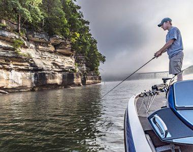 Man fishing from boat on Lake Cumberland, Somerset-Pulaski County, KY