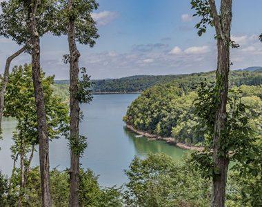 View through trees of Lake Cumberland, Somerset-Pulaski County, Kentucky