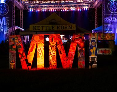 Master Musicians Festival art sculpture lit up at night, Somerset-Pulaski County, Kentucky
