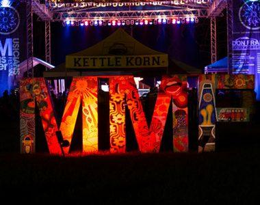 Master Musicians Festival art sculpture lit up at night, Somerset-Pulaski County, Kentucky