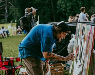 Artist creating art at Master Musicians Festival, Somerset-Pulaski County, Kentucky