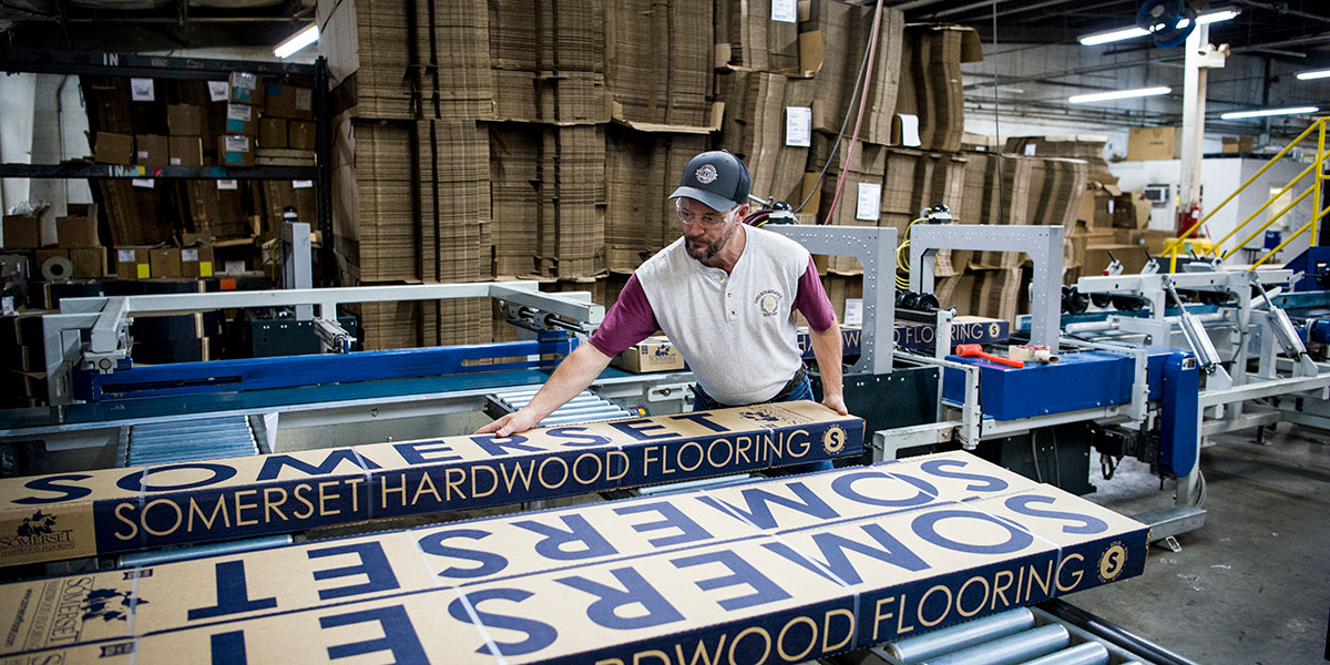 employee working at Somerset Hardwood Flooring manufacturing warehouse in Somerset-Pulaski County, KY