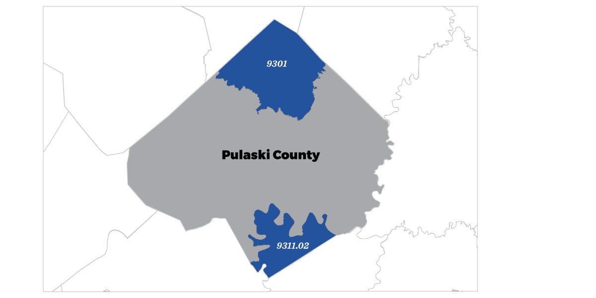 Displays Pulaski County, Kentucky opportunity zones 9301 and 9311.02