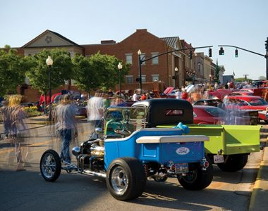 People walking through Somernites Cruise in downtown Somerset, Kentucky