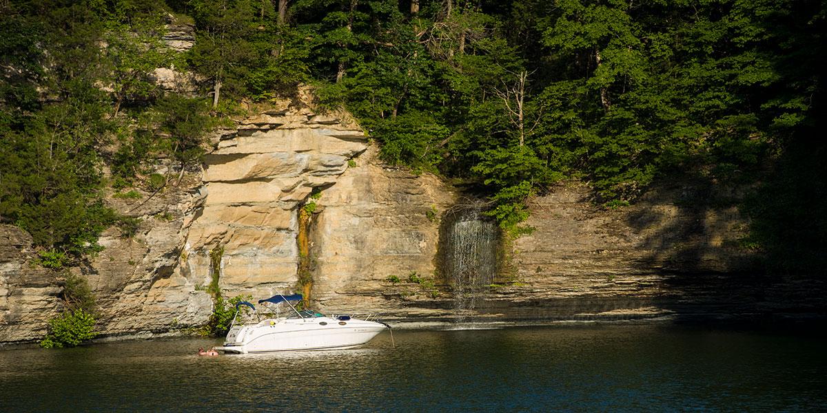 Waterfall on Lake Cumberland, Somerset-Pulaski County, Kentucky