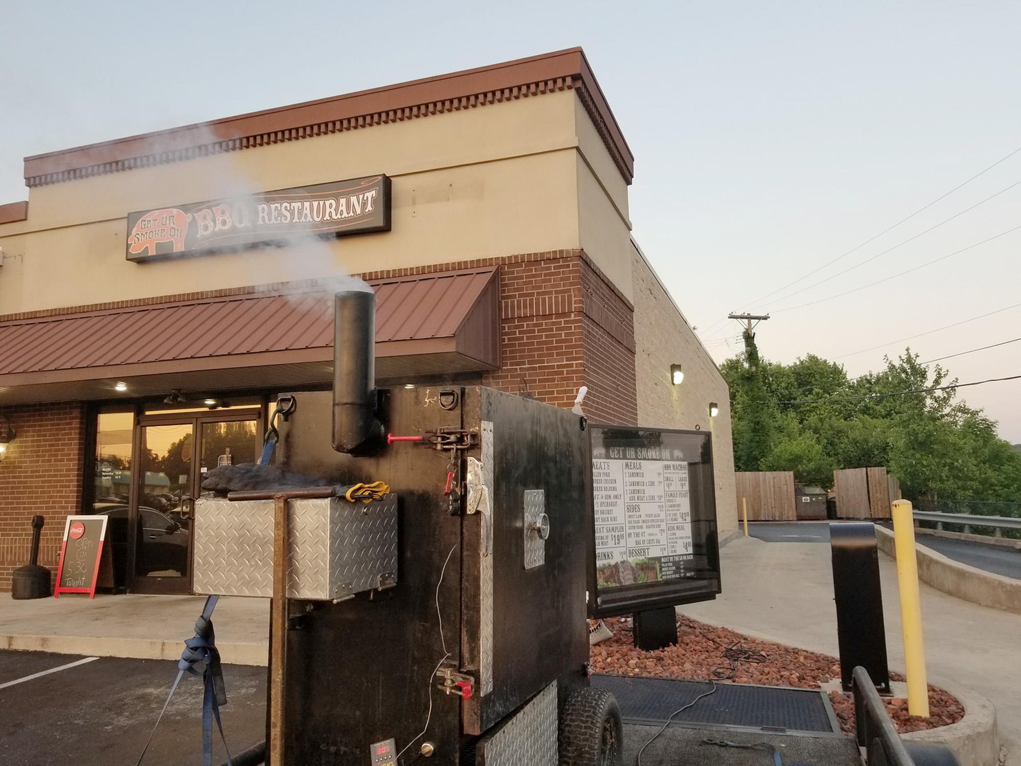 smoker outside barbecue restaurant