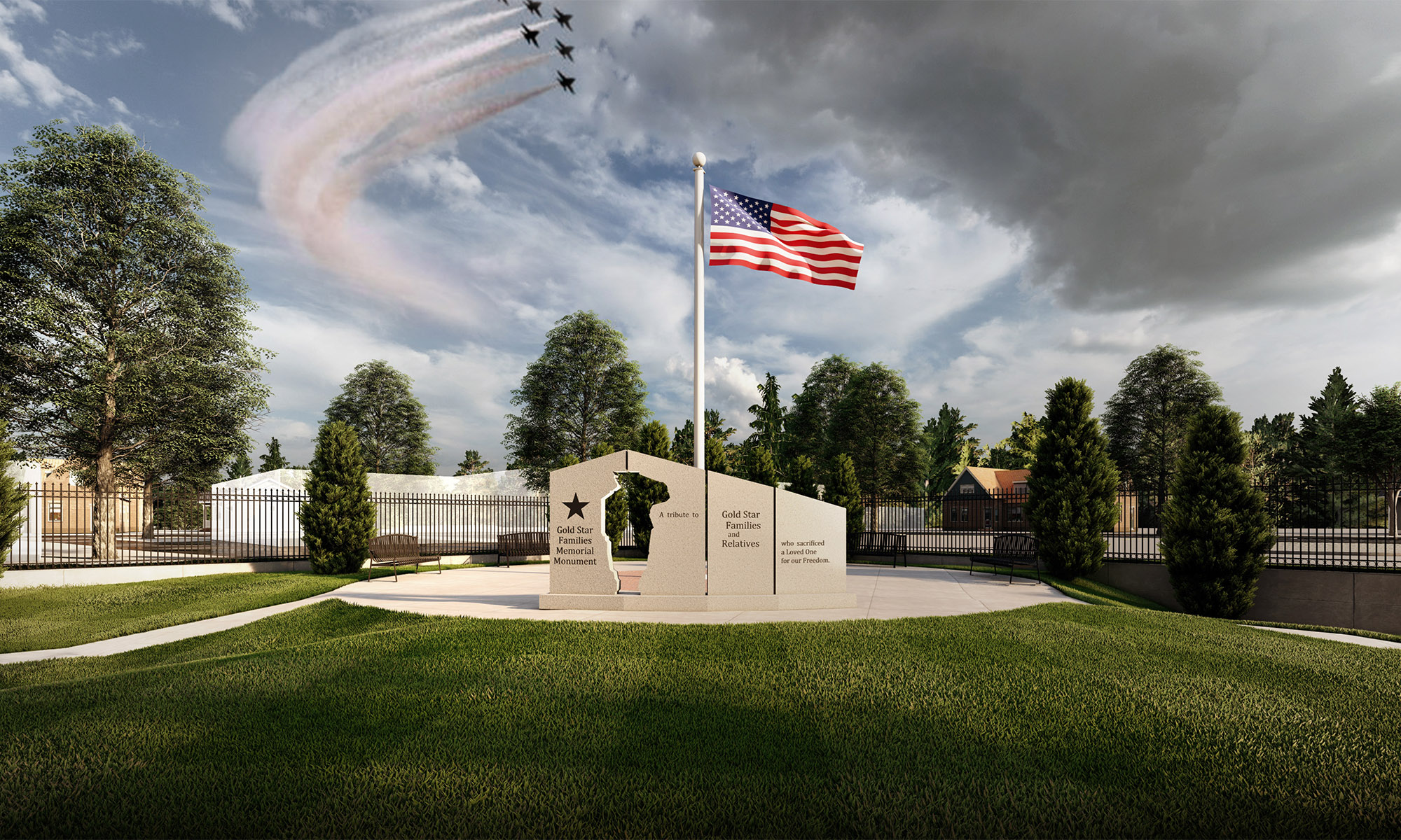 monument in a park with an american flag flying behind it