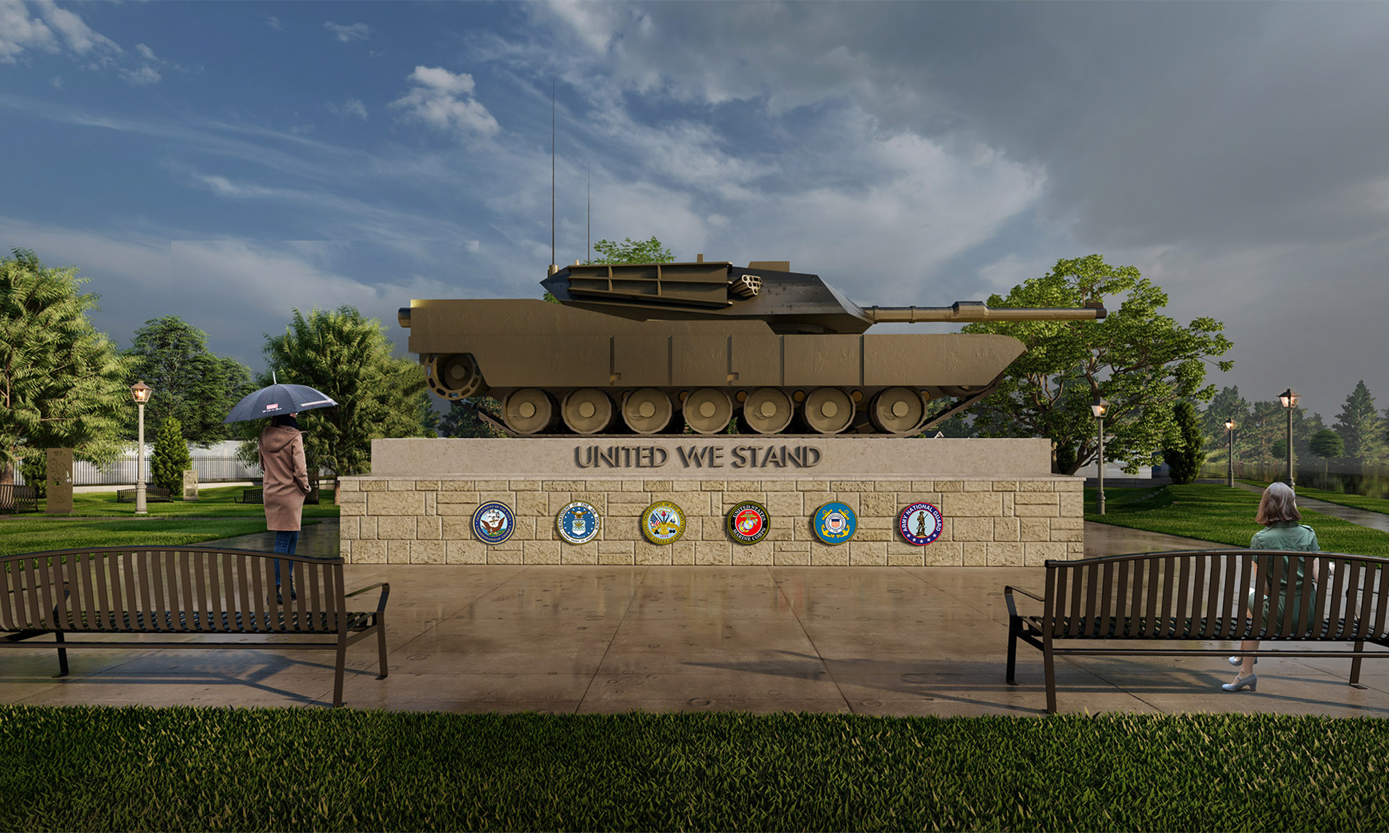 military tank displayed in a park setting